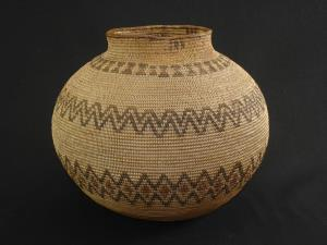 A rare Kawaiisu olla shaped polychrome basket